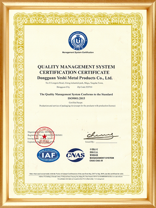 ISO9001质量管理体系认证证书-英文