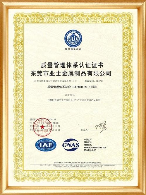 ISO9001质量管理体系认证证书-中文