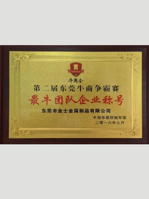 最牛团队企业称号证书